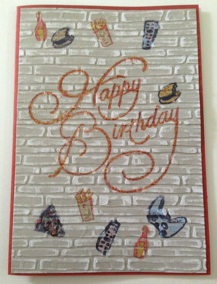 Brick Embossing Folder, Core'dinations card stock rubbed back, Stamped