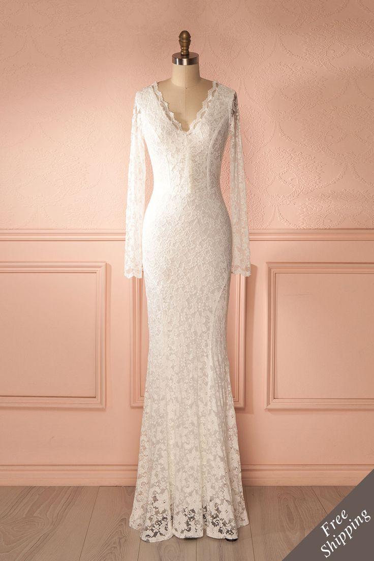 Enrica from Boutique 1861...Toute de blanc vêtue, son regard était rivé à celui de l'amour de sa vie.....Beautiful lacy long sleeves wedding dress/ fall weddings/bohemian dress/Boudoir 1861 bridal store/1861.ca