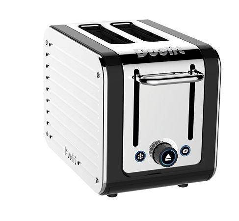 Dualit Toaster 2-slots rvs Architect  € 109,- De bruiningsgraad is te controleren zonder het toasten te onderbreken. De ontdooistand zorgt voor snel ontdooide sneden brood en met de speciale bagelfunctie wordt alleen de binnenzijde van de bagel getoast. Door de brede sleuven kan de tostiklem met 2 sneden brood eenvoudig geplaatst worden.   Specificaties  Afmetingen: 20,5 x 17 x 29 cm Gewicht: 2 kg Materiaal: RVS/ ABS Vermogen: 1.200 Watt