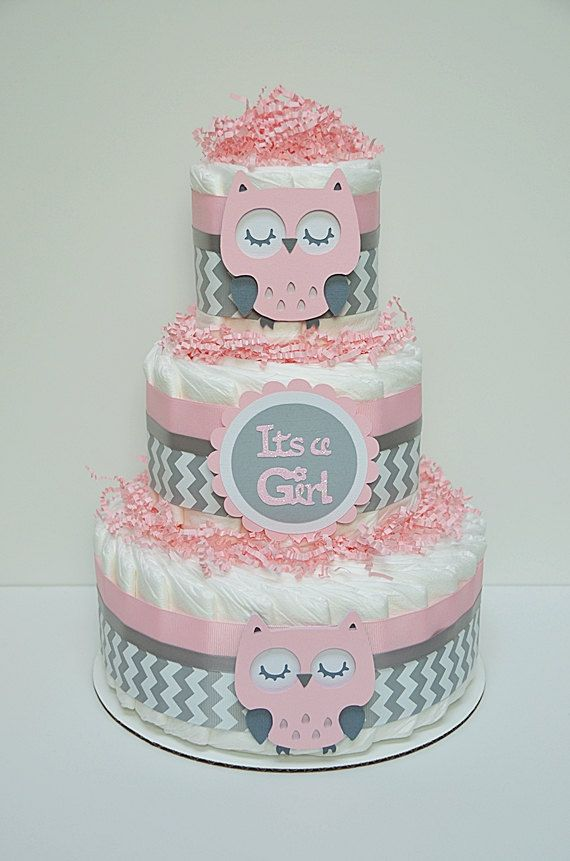 PLEASE READ STORE ANNOUNCEMENT BEFORE PLACING AN ORDER:    Its A Girl! This cute Pink And Gray Owl diaper cake would be the perfect gift for
