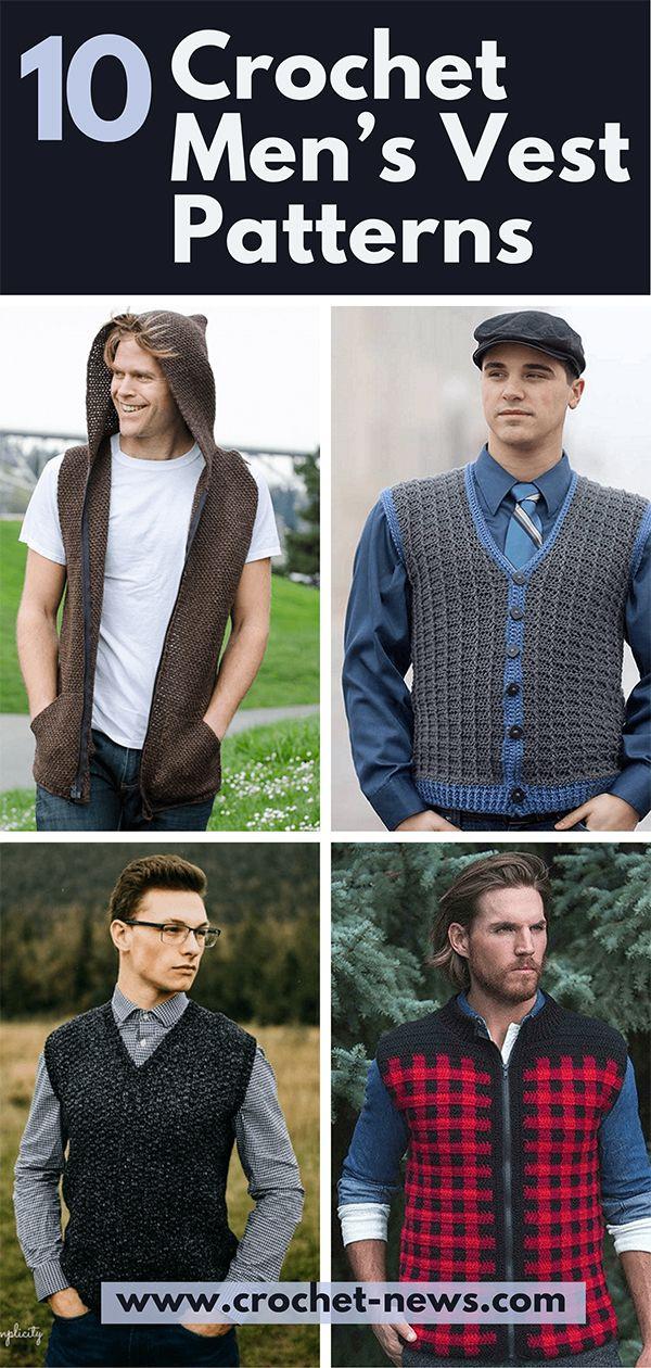 10 Crochet Men S Vest Patterns Crochet News In 2020 Crochet Men Crochet Vest Pattern Mens Vest Pattern