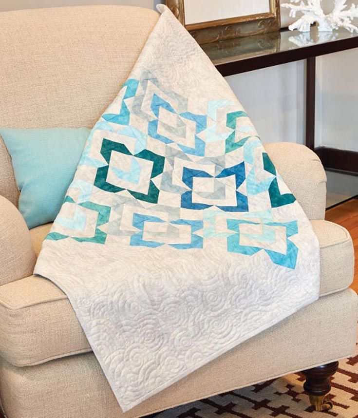 Make this elegant wall hanging quilt pattern using the cool colors of water and sea glass. The design only looks complicated — it's really quite easy using our quick Flying Geese method.