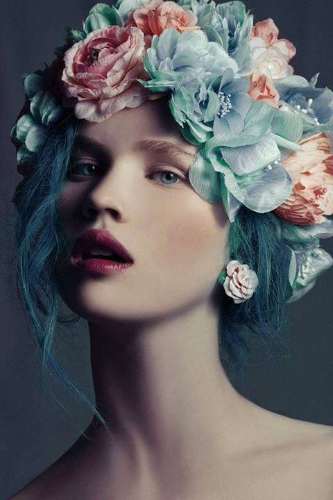 Beautiful Inspiration + blue hair + raspberry lipstick + flower crown + Charling + Brucie