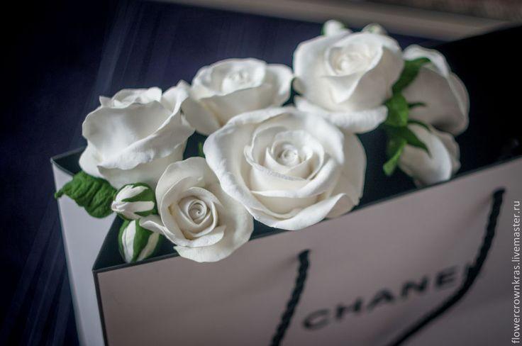 """прическа невесты украшение невесты свадьба Купить Шпильки для волос """"Белые розы"""" - белый, роза, белые розы, для свадьбы, невесте"""