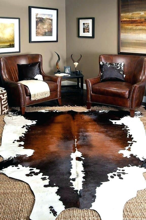 Tricolor Genuine Cowhide Rug Cow Hides Chic Living Room Decor Cowhide Rug Living Room Boho Chic Living Room Decor