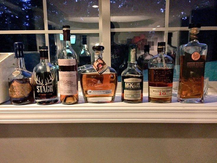 Blind tasting tonight with six of my bourbon snob friends. Ranked best/last left to right. 1. Pure Ky XO 2. Stagg Jr. 3. Rowan's Creek 4. Calumet 5. Henry McKenna 10yr 6. Bulliet 10 7. Rabbit Hole #bourbon #whiskey #whisky #scotch #Kentucky #JimBeam #malt #pappy