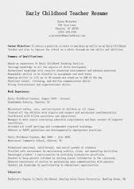 early childhood resume sample