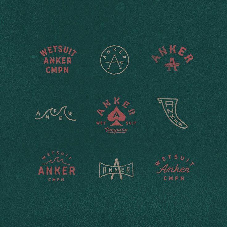 Set of sketches for surf company @ankercompany Part 3    #handdrawn #handlettering #logos #logo #blockprint #anker  logo logotype identity anton gorbunov askmetolie lettering art