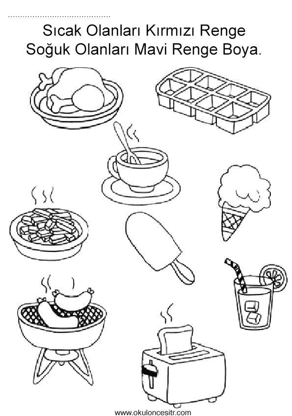 Sıcak soğuk kavramı çalışma sayfası etkinlikleri ve mangal, dondurma sıcak soğuk duyu kavramları çalışmaları etkinliği örnekleri kağıdı indirme, çıktı yazdırma. Free hot cold worksheets download printable.