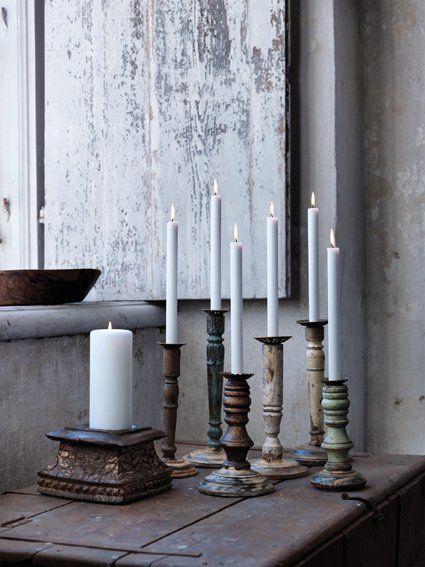 houten kandelaars - wooden candlesticks
