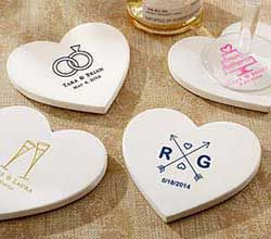 Personalized Heart Shaped Stone Coaster Wedding Favors By Kate Aspen