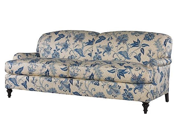 Best Blue Floral Print Simone Sofa Classic Furniture 400 x 300