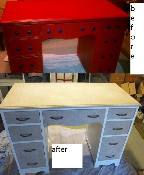 Repainted desk with faux stone spray paint top & drawers