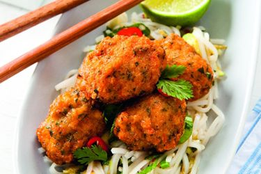Thai prawn fish cakes with lime rice noodles recipe, NZ Woman's Weekly – visit Food Hub for New Zealand recipes using local ingredients – foodhub.co.nz