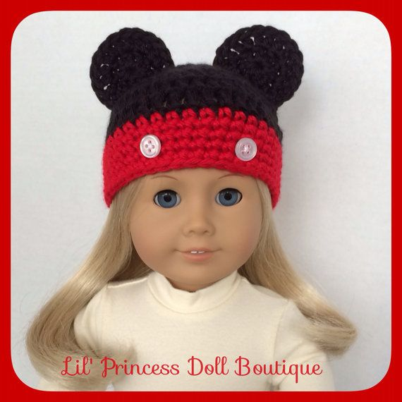 American Girl Doll Clothes, Mickey Mouse Crochet Hat,18 Inch, Handmade