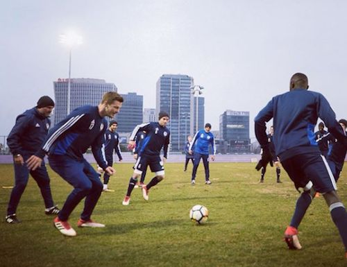 Melbourne Victory train in the evening cold in Shanghai ahead of tonight's AFC Champions League match v Shanghai SIPG. 20.02.18