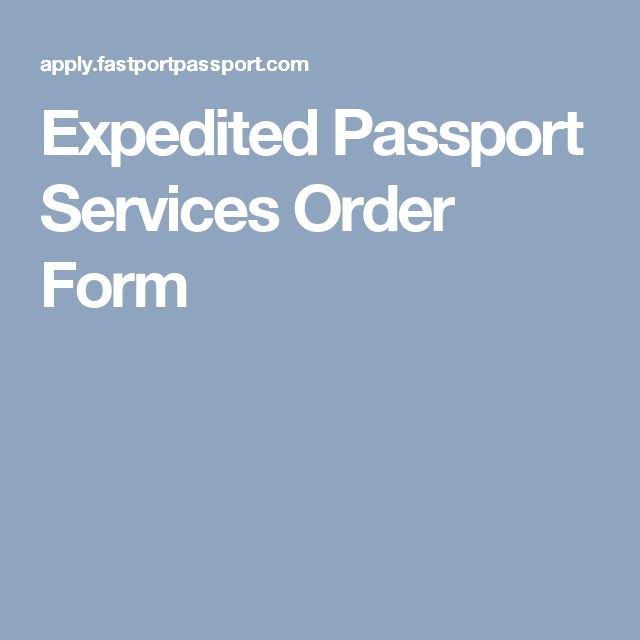 Expedited Passport Services Order Form