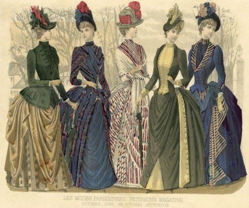 """Пять подруг. """"Модные картинки"""" 1880-х годов из американского дамского журнала """"Peterson's Magazine"""", октябрь 1888. Дневные платья для прогулок."""