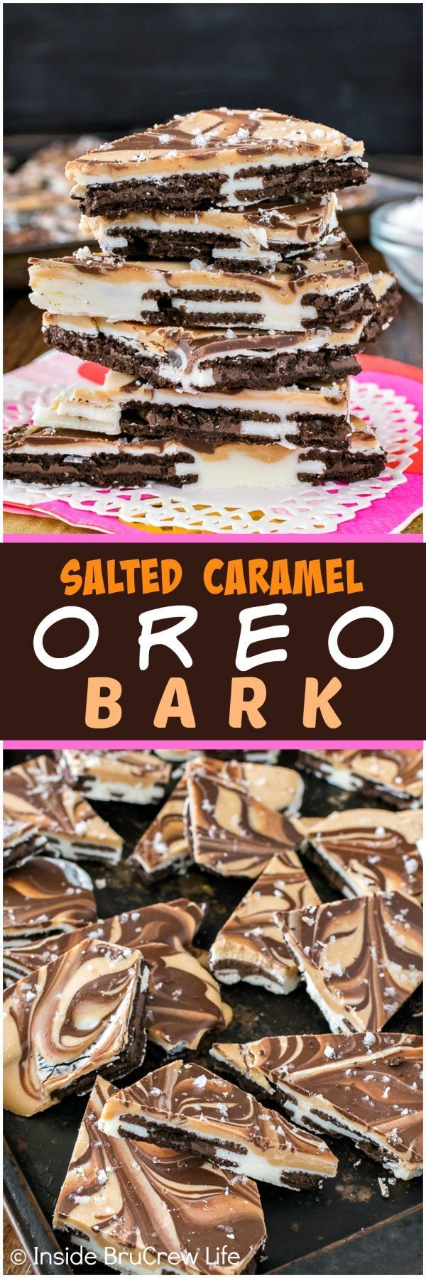 Salted Caramel Oreo Bark - swirls of chocolate and caramel on top of cookies makes this no bake candy disappear in a hurry.  Easy recipe when you need a sweet treat in a hurry! (Chocolate Desserts Easy)