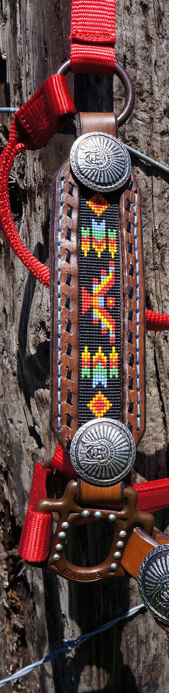 Beaded Leather Horse Halter