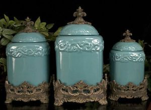 TURQUOISE DRAKE DESIGN CANISTER SET Kitchen TUSCAN Ceramic FLEUR DE LIS Large