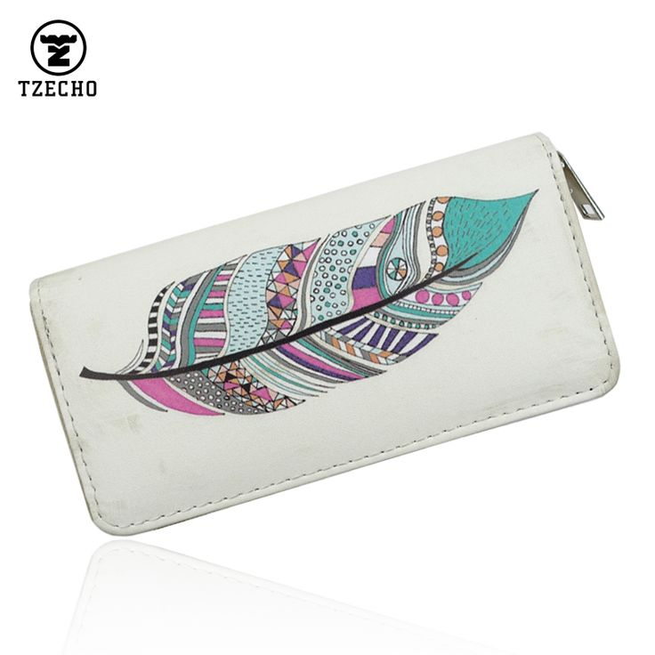 TZECHO Womens Wallets PU Leather Print Cartoon Long Ladies Purses With  Zipper Coin Pocket Credit Card