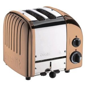 Copper Dualit 2-Slice NewGen Toaster:  Right after looking at the toaster's design, you'll question yourself as to how these people come up with such remarkable colors. This may quite possibly be one of the most graceful looking kitchen device you'll ever run across, with perfect design and extra wide slots for accommodation of even the thickest of sandwiches.