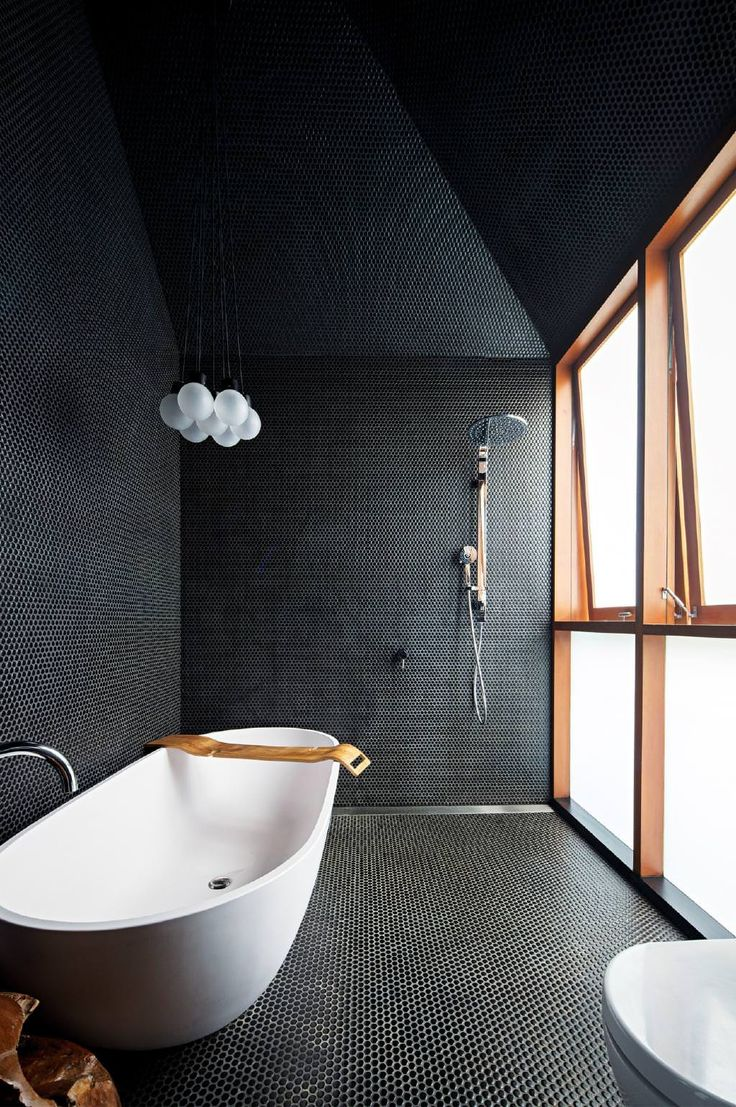 Now THIS is a bathroom. Sleek, modern, and clean.   Emily Henderson Design Trends 2018 Bathroom One Material.