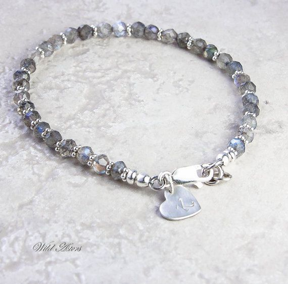 Labradorite Bracelet, Initial Stamped Sterling Silver Jewelry. Gemstone Jewelry. Choice of Charm