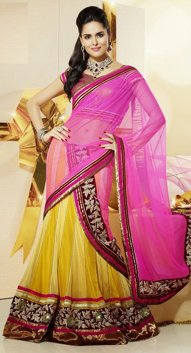 Yellow color Party Wear #Lehnga #Choli-Net Lehenga Choli