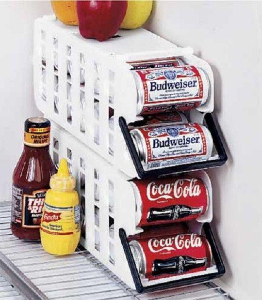 Set of 2 Fridge refrigerator soda beer Can Dispenser rack organizer with handle