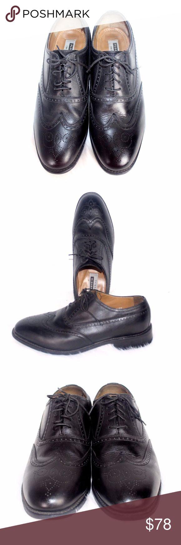 FLORSHEIM IMPERIAL Leather Wingtip   Sz 9 1/2 3E FLORSHEIM IMPERIAL Mens Black Leather Wingtip Lace Up Dress Shoe Sz 9 1/2 3E Front to Back 12 1/2 Inches Widest Part Of Sole 4 Inches Heel 1 1/2 Inches Florsheim Shoes Oxfords & Derbys