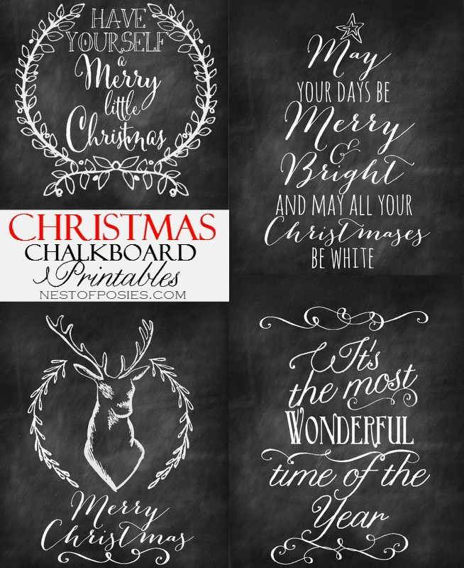 For the air conditioner spot. Chalkboard paint and Christmas Chalkboard Printables - Nest of Posies