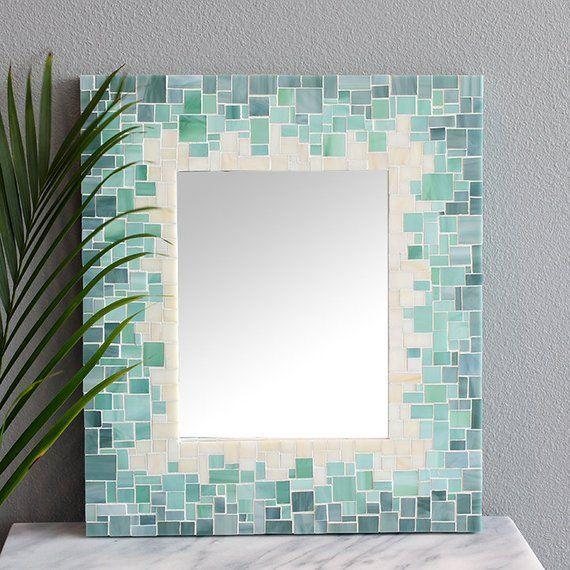 Mosaic Tile Mirror, Blue Mosaic Tile Bathroom Mirror