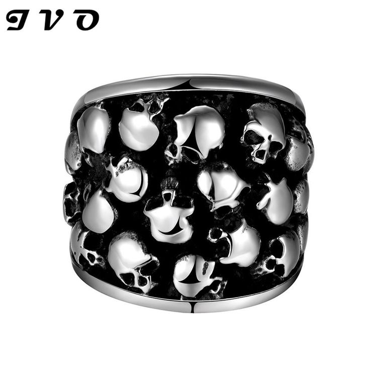 Skull Rings New Design Retro Punk Personality Irregular Rows Skull Ring Biker Gothic Knight 316L Stainless Steel Jewelry for Men