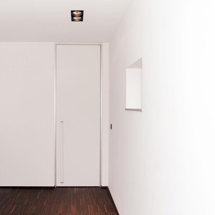 Modern Interior Door From Floor To Ceiling With Integrated Handle And Block  Frame.
