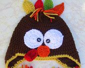 Crochet Turkey Hat - Newborn Turkey Hat - Baby Turkey - Thanksgiving Hat - Thanksgiving Turkey - Photo Prop - Turkey Hat for Adult - Kids - pinned by pin4etsy.com