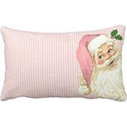 Himoud Pink Vintage Victorian Santa Claus Shabby Colors Christmas Lumbar Pillow Covers 20 x12 inches
