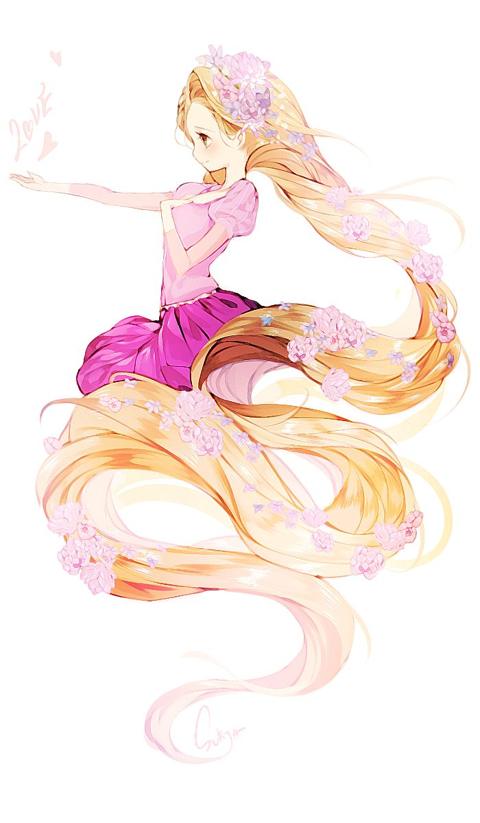 Imagen anime 				700x1200 con  		tangled 		disney 		rapunzel 		sorolp 		single 		tall image 		blonde hair 		simple background 		yellow eyes 		very long hair 		profile 		hair flower 		outstretched arm 		puffy sleeves 		girl 		dress 		hair ornament 		flower (flowers) 		short sleeves 		pink dress
