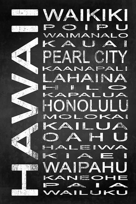 Choose from one of many Subway Sign Typography Designs from Urban Art District. These black and white pieces of art add a sophisticated flair to any urban or contemporary decor. #UrbanArtDistrict Hawaii State word art.