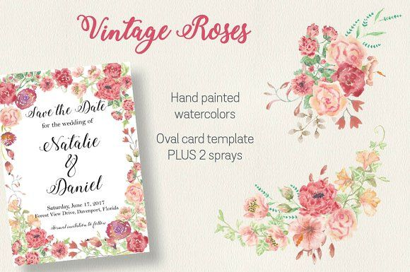 Watercolor clip art: vintage roses by Lolly's Lane Shoppe on @creativemarket