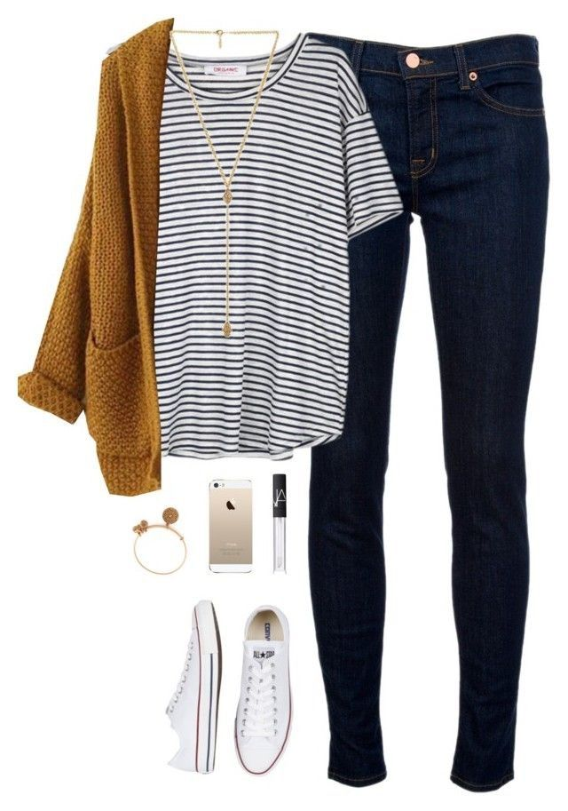 Love the mustard sweater paired with navy and white stripe tee