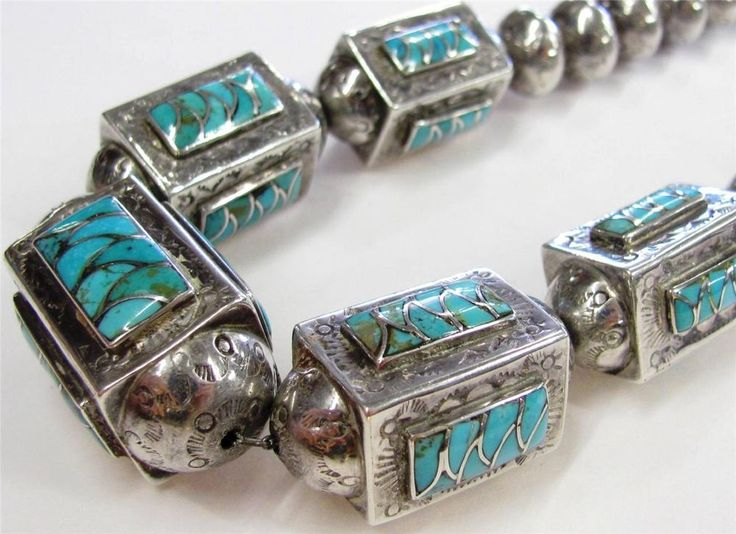 Old Pawn Navajo Handmade Sterling Silver Barrel Bead Turquoise Inlayed Necklace