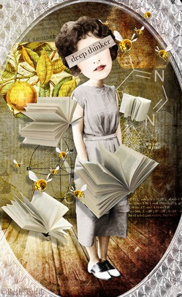 Deep Thinker © Beth Todd - All Rights Reserved  Created with 'Monthly Mischief - Knowledge - Designer Mash-up Collection'@ MischiefCircus.com. Digital image kits for your art, collage, mixed media art and scrapbooking.#photomanipulation #digital #art #scrapbook #collage #artjournaling #atc