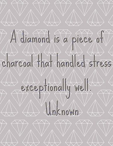 A Diamond is a Piece of Charcoal that Handled Stress Exceptional Well!