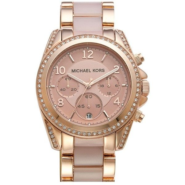 Women's Michael Kors 'Blair' Crystal Bezel Two-Tone Bracelet Watch,... ($280) ❤ liked on Polyvore featuring jewelry, watches, rose watches, two tone jewelry, two tone watches, crystal jewelry and bracelet watches