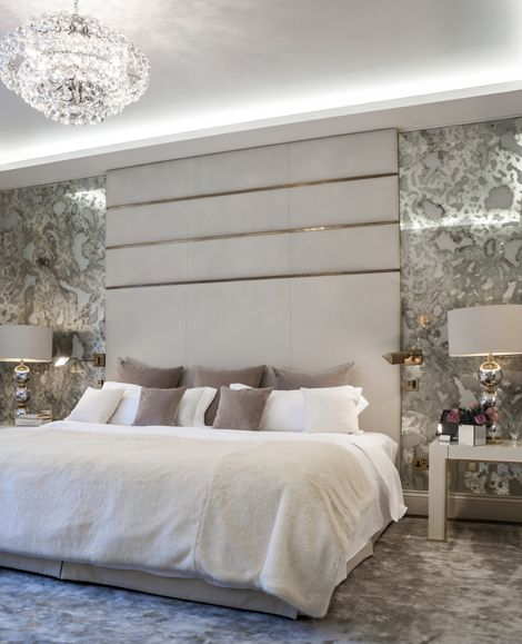 Design Large mottled antiqued glass panels backed in fabric to create a specialist mirrored glass effect. Created in collaboration with Osborn Interiors for the bedroom of a luxury Belgravia apartment. Size Height – 2560mm Width – 1262mm