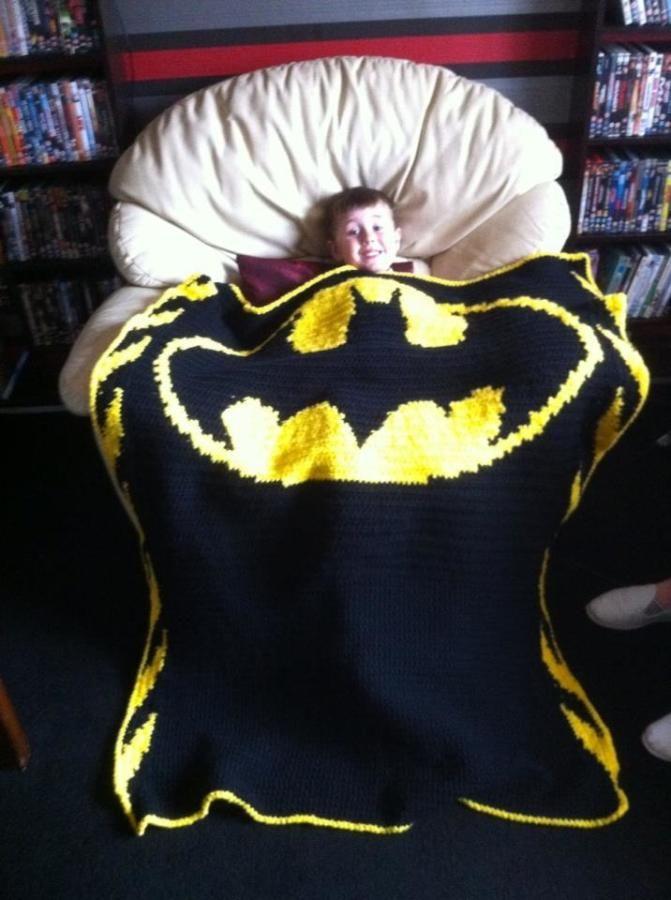 Batman Blankie - Knitting creation by Claire Nixon   Knit.Community