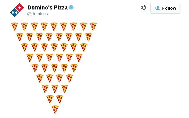 Domino's will soon take emoji orders via Twitter for convenience. Customers will have to register an Easy Order account on the Domino's website, with details of their pizza preferences, which will be despatched to their address when they order by tweeting a pizza emoji. Only available in the USA for now with potential to come to the UK.