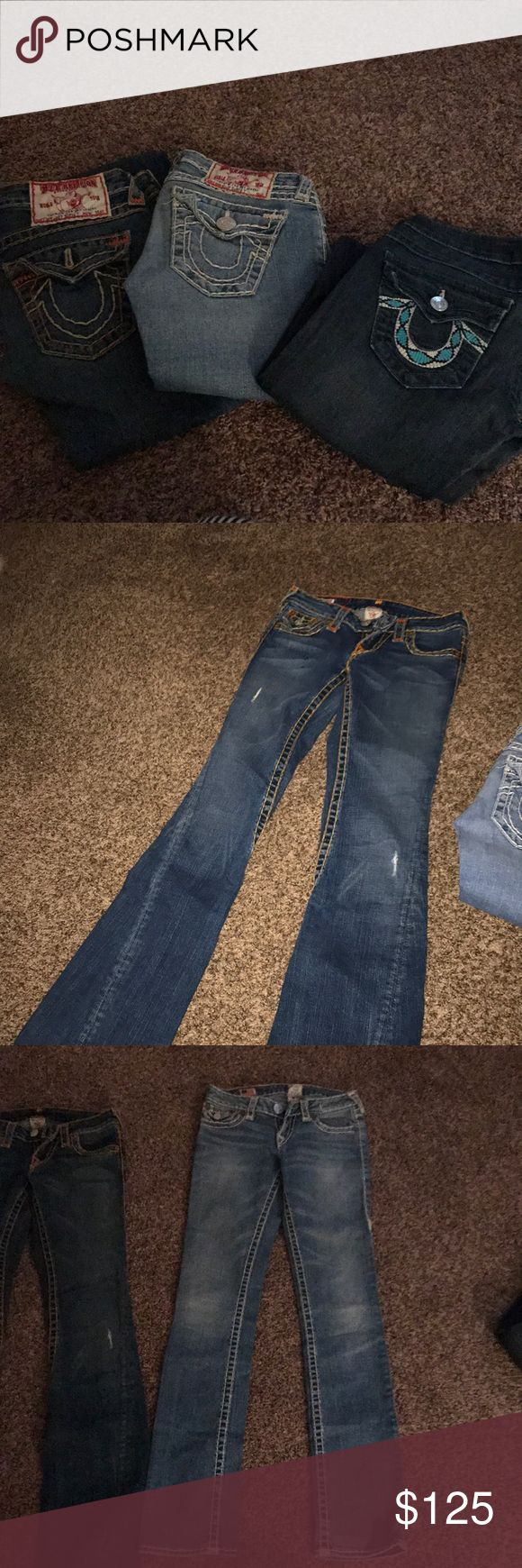 TRUE RELIGION JEANS package deal- 3 pairs!!!! 3 pairs  Dark  Light  Medium wash Jeans Straight Leg